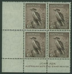 Australia SG 172 ACSC 202za. 6d Purple-Brown Kookaburra imprint block